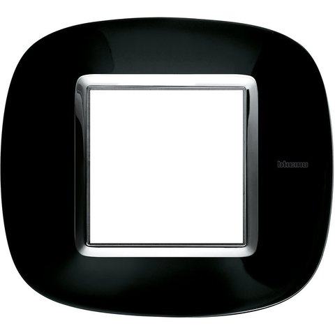 Рамка 1 пост, овальной формы. МЕТАЛЛИЗИРОВАННЫЕ. Цвет Роскошный чёрный. Немецкий/Итальянский стандарт, 2 модуля. Bticino AXOLUTE. HB4802NR