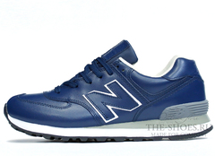 Кроссовки Мужские New Balance 574 Navy Blue White Leather