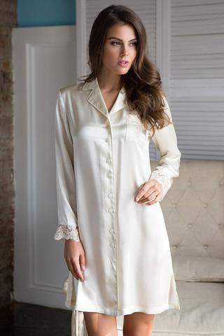 Женская домашняя рубашка шелковая кремовая
