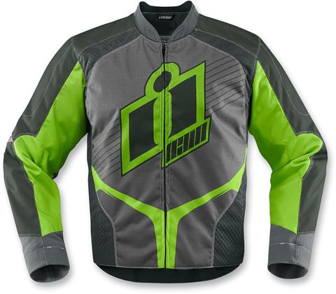 Мотокуртка - ICON OVERLORD (текстиль, серо-зеленая)