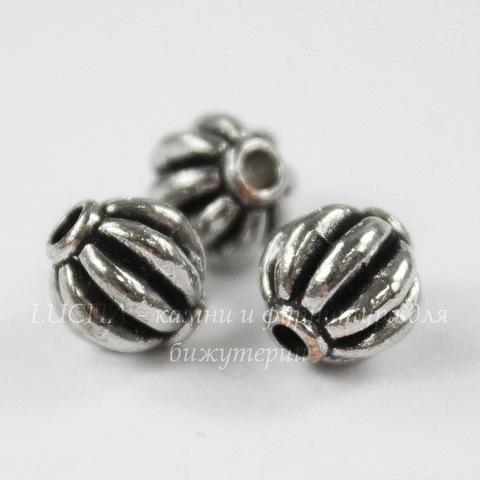 """Бусина металлическая """"Фонарик"""" (цвет - античное серебро) 7,5х7 мм, 10 штук"""