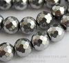 Бусина Гематит немагнитный, шарик с огранкой, цвет - серебристый, 10 мм, нить