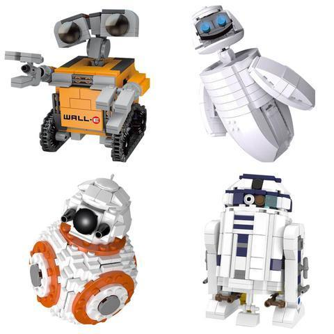 Конструктор LEPIN Мини Wall-E, Eva, BB-8, R2D2 | 4 в 1