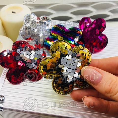 Набор резинки для волос с двусторонними пайетками меняют цвет Цветочки (3 штуки)