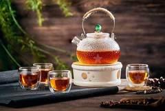 """Набор: заварочный чайник с подогревом свечей - чайник """"Плутон"""" 600 мл, керамическая подставка-подогрев, и чашки """"Ландыш"""""""