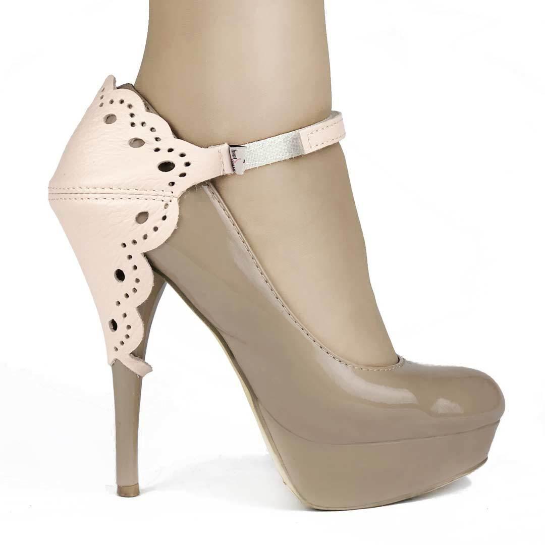 Автопятка для женской обуви на каблуке ажурная розовая