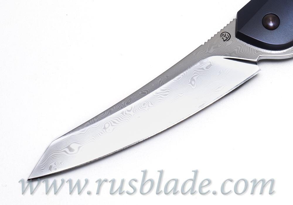 Cheburkov Cobra 2018 Damascus Titanium Blue new knife