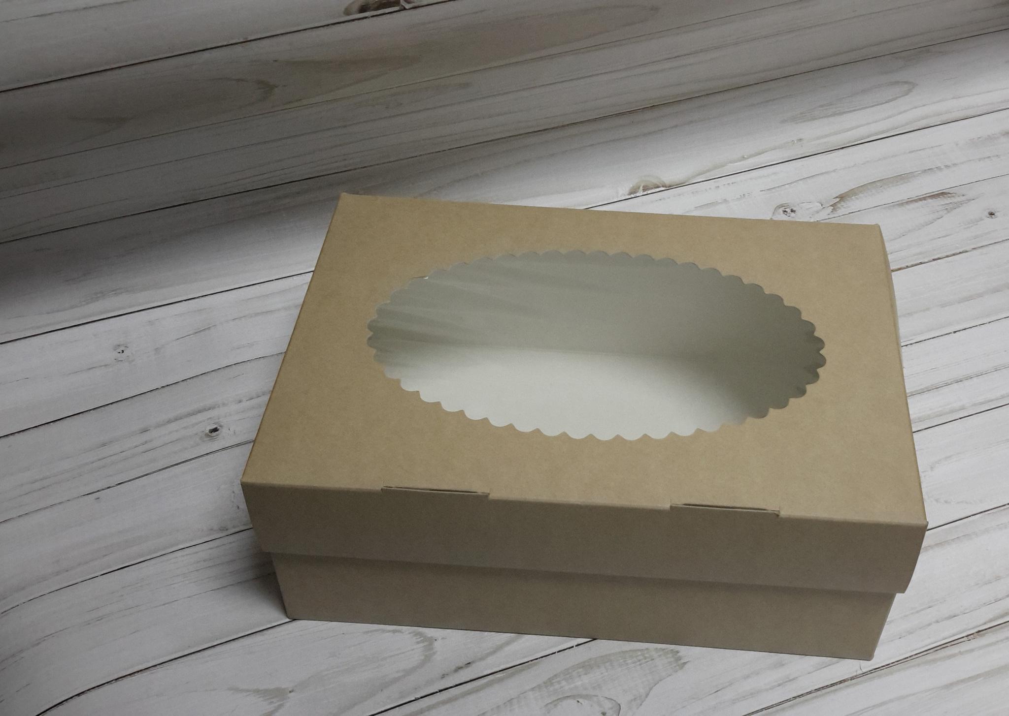 Коробка прямоугольная с окном, 17,5x15,5x10 см, крафт картон, 1 шт.