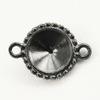 """Сеттинг - основа - коннектор TierraCast """"Узор"""" (1-1) для страза 12 мм (цвет-черный никель)"""