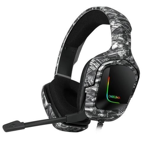 Наушники ONIKUMA Gaming with LED K20, camouflage-gray