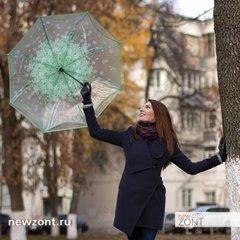 Прозрачный зонт-трость обратного сложения зеленые лепестки, механика