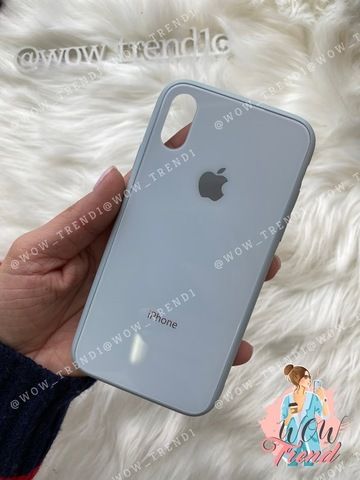 Чехол iPhone X/XS Glass Pastel color Logo /mist blue/