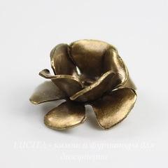 Винтажный декоративный элемент - шапочка с двойными лепестками в виде розы 13 мм (оксид латуни)