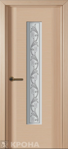 Дверь Крона Карат, стекло матовое с шелкографией, цвет беленый дуб, остекленная