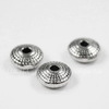 """Бусина металлическая - рондель """"Лучистая"""" 8х4 мм (цвет - античное серебро), 10 штук"""