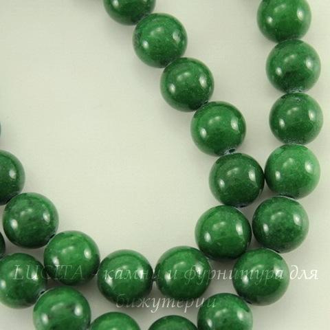 Бусина Жадеит (тониров), шарик, цвет - темно-зеленый, 8 мм, нить