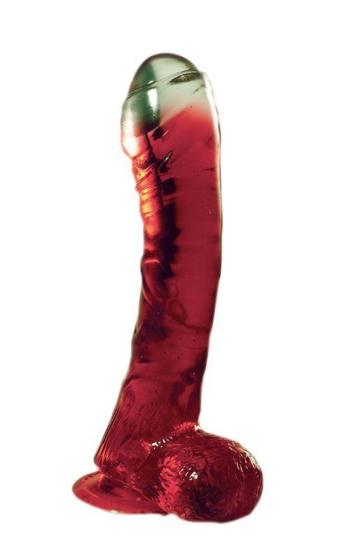 Реалистичные: Красный фаллоимитатор на присоске LAZY BUTTCOCK - 17 см.