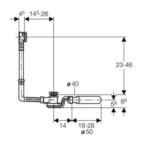 Слив-перелив для ванны с кнопкой слива GEBERIT 150.755.21.1 схема