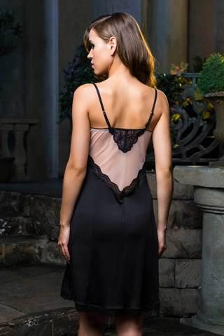 Элегантная сорочка средней длинны (до колен) полуприлегающего силуэта из плотного нейлона, телесного цвета стрейч-сетки и кружева фото