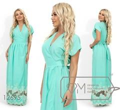 Платье-макси на запах с цельнокроенным верхом, короткими рукавами и вышивкой на подоле 12695