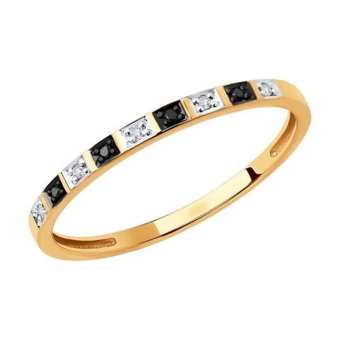 7010052 - Кольцо-дорожка  из золота с бесцветными и чёрными бриллиантами