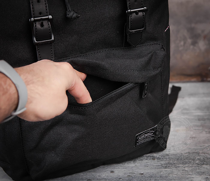 BAG404-1 Мужской тканевый рюкзак черного цвета фото 05