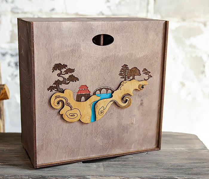 BOX233-3 Большая коробка «Синано» с художественной росписью (25*25*12 см)
