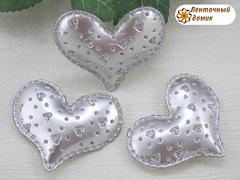 Мягкий декор сердечки перфорированные серебряные