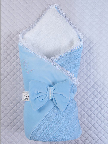 Зимний конверт на выписку Дуэт (голубой)
