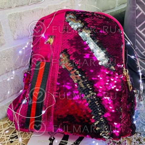 Рюкзак малиновый с пайетками меняющий цвет Малиновый-Серебристый с молнией LOLA маленький
