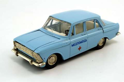 Moskvich-412 Medicaid Ambulance blue Agat Tantal Made in USSR 1:43