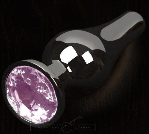 Графитовая удлиненная анальная пробка с розовым кристаллом - 8,5 см.