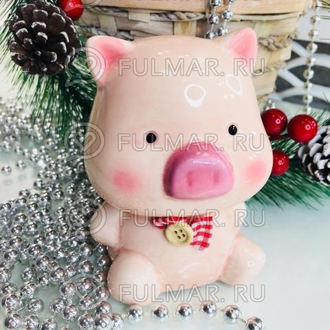 Копилка Свинка-Милашка Девочка розовая с бантиком символ 2019 года (11х8х6 см)