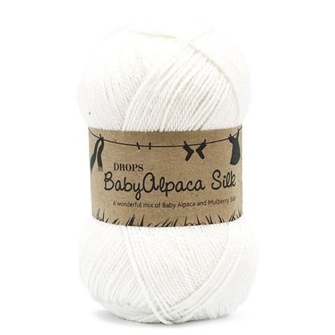 Пряжа Drops Baby Alpaca Silk 1101 белый