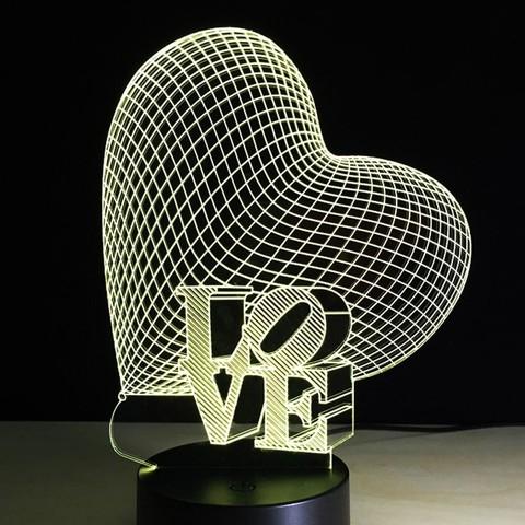3D светильник Сердце — 3D light Heart