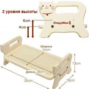 93336 - Подставка стол для мисок кошек из дерева