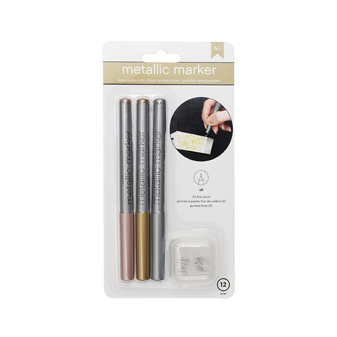 Набор маркеров American Crafts - Metallic Markers - 03 Fine Point - Rose Gold, Gold, Silver
