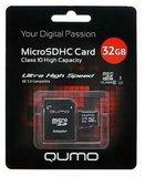 Карта памяти QUMO microSDHC 32 Гб Class 10 + Адаптер, шт.