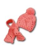 Шапка и шарф - Розовый 1. Одежда для кукол, пупсов и мягких игрушек.