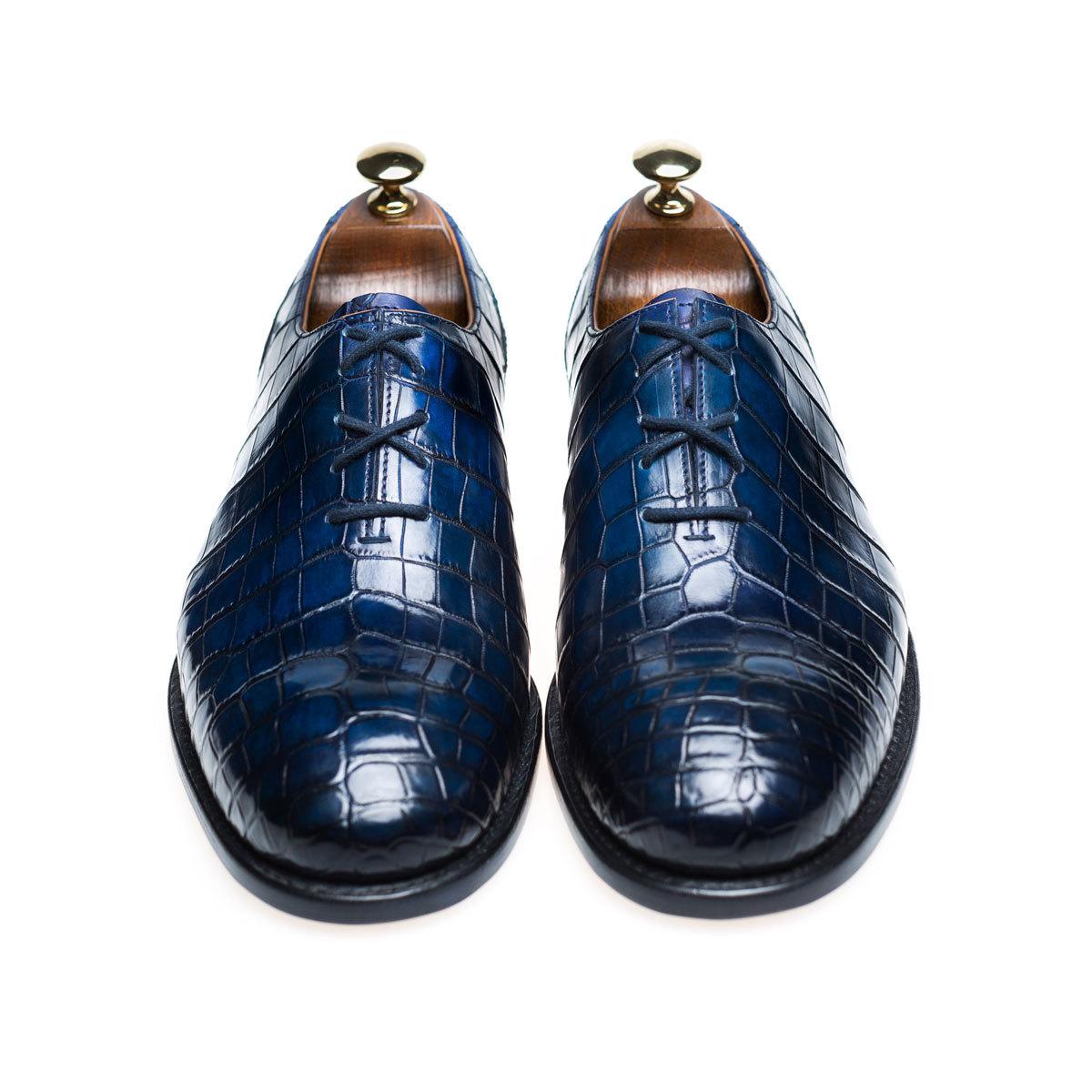 b1bd6ab9b Мужские туфли оксфорды из кожи крокодила синие | Артикул: MSC0400BL