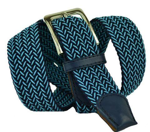Ремень-резинка текстильный эластичный брючный чёрно-голубой (металлик) 35 мм 35Rezinka-114