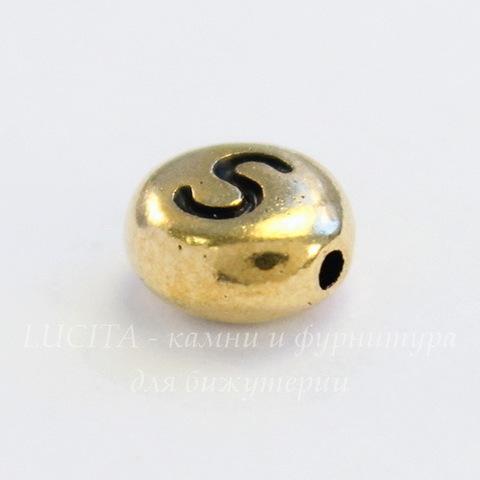 "Бусина овальная TierraCast ""Буква S"" 7х6х3 мм (цвет-античное золото)"