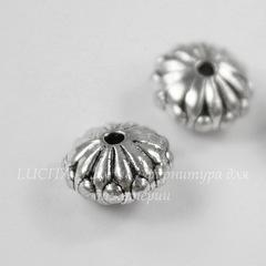 Бусина металлическая - рондель (цвет - античное серебро) 10х6 мм