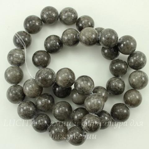 Бусина Жадеит (тониров), шарик, цвет - темно-серый, 10 мм, нить