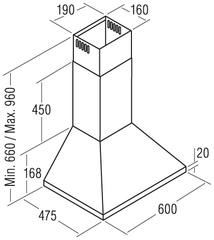 Вытяжка Cata V 600 blanca схема