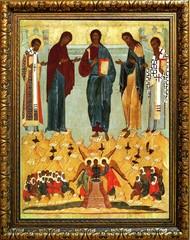 Празднество Всемилостивому Спасу и Пресвятой Богородице. Икона на холсте.