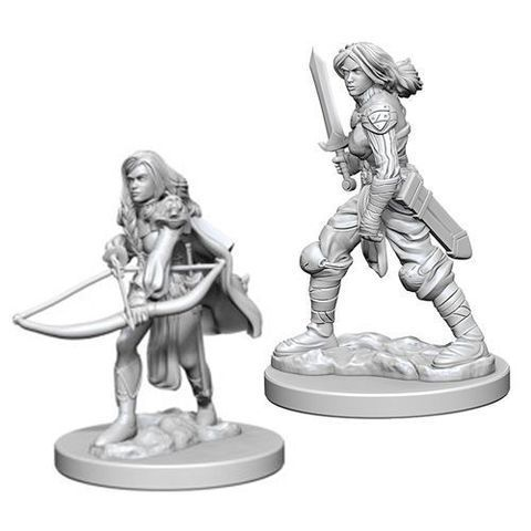 Pathfinder Deep Cuts Unpainted Miniatures - Human Female Fighter