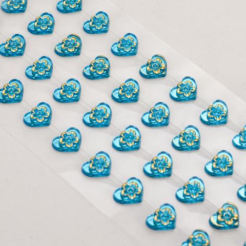 Стразы сердечки голубые 72 шт