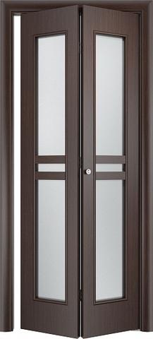 Дверь складная Верда С-23 (2 полотна), стекло Сатинато, цвет венге, остекленная