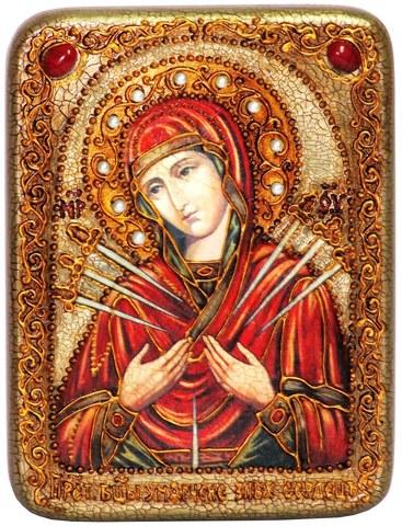 Инкрустированная икона Божией Матери Умягчение злых сердец 20х15см на натуральном дереве в подарочной коробке